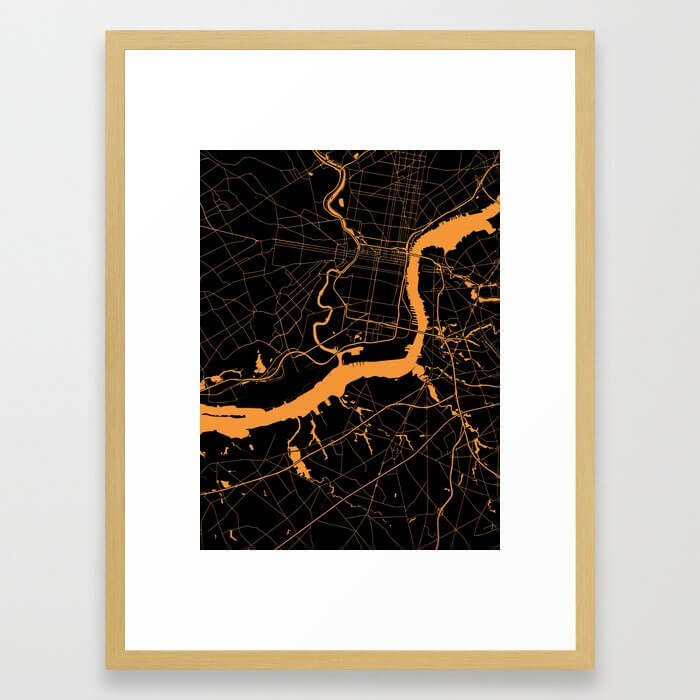 Philadelphia - The Orange and the Black Framed Art Print