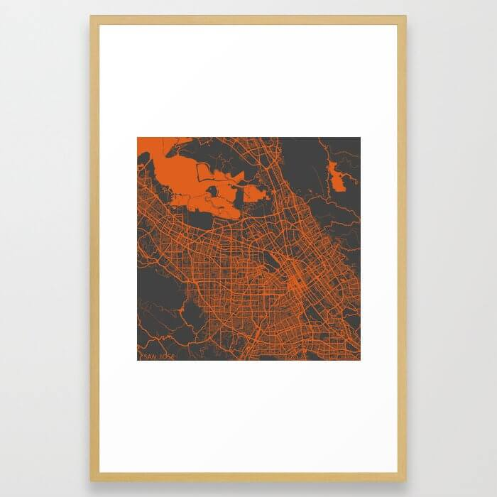 San Jose map orange Framed Art Print