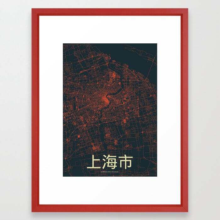 Shanghai Streets Map Framed Art Print