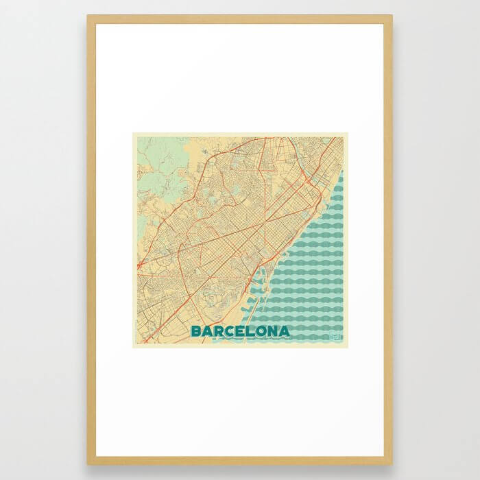 Barcelona Map Retro Framed Art Print