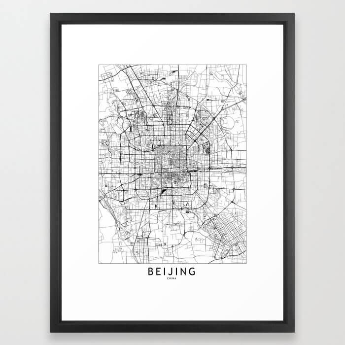 Beijing White Map Framed Art Print