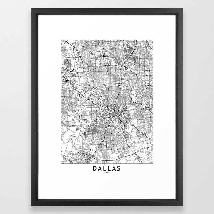 Dallas White Map Framed Art Print