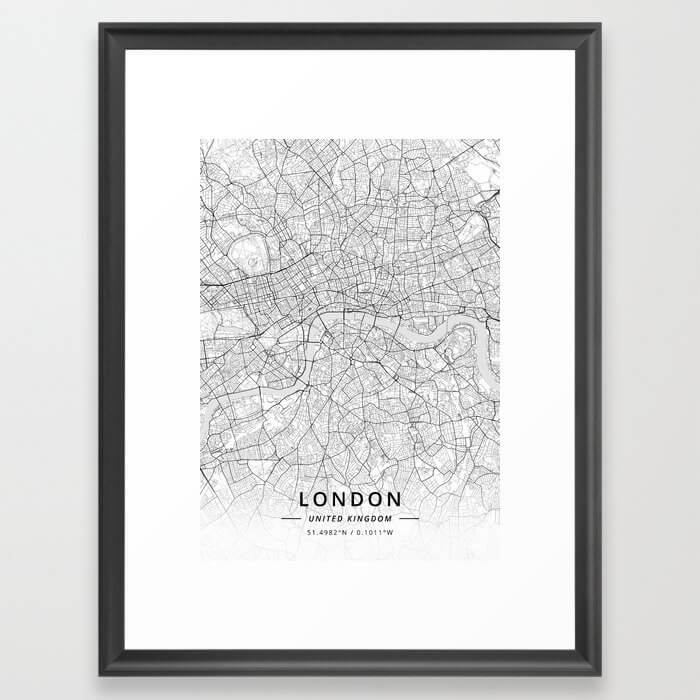 London, United Kingdom - Light Map Framed Art Print