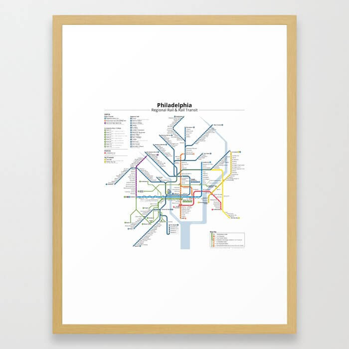 Philadelphia Transit Map Framed Art Print