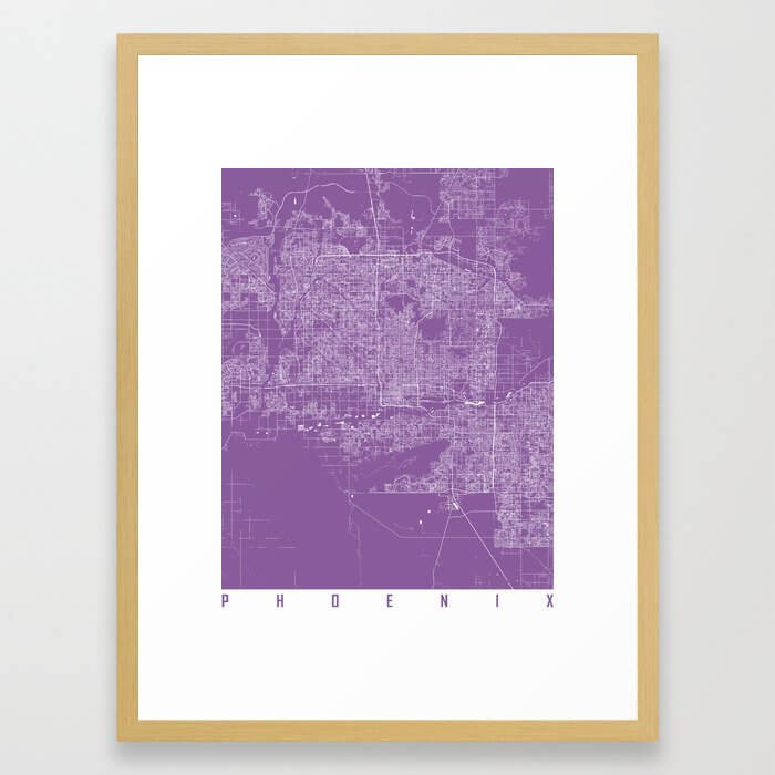 Phoenix map lilac Framed Art Print