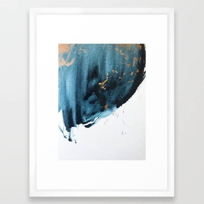 Sapphire and Gold Abstract Framed Art Print
