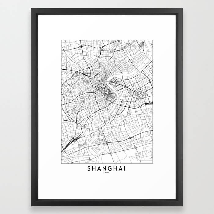 Shanghai White Map Framed Art Print