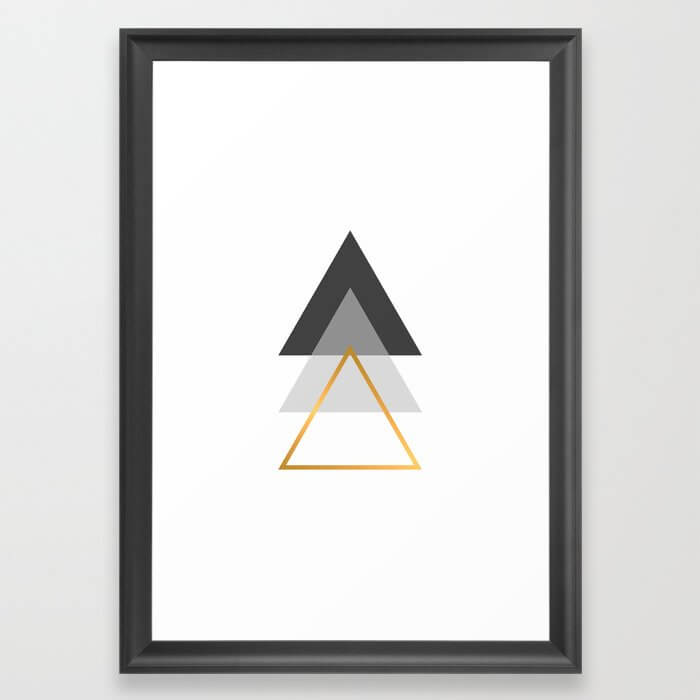 Triangles art, Black, white and gold Framed Art Print