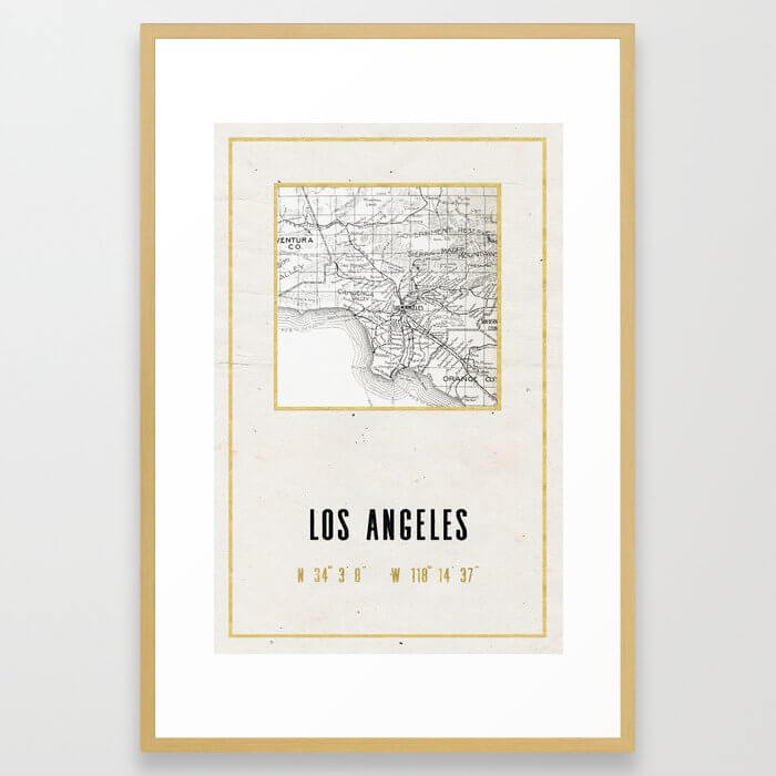 Vintage Los Angeles City Gold Foil Location Coordinates with map Framed Art Print