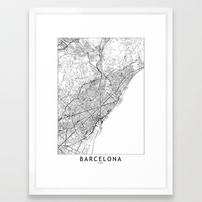 Barcelona White Map Framed Art Print