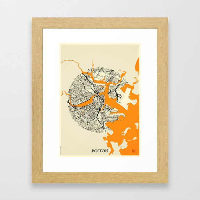 Boston Map Moon Framed Art Print