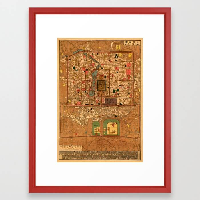 Map Of Peking 1914 Framed Art Print