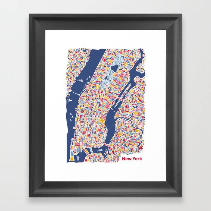 New York City Map Poster Framed Art Print