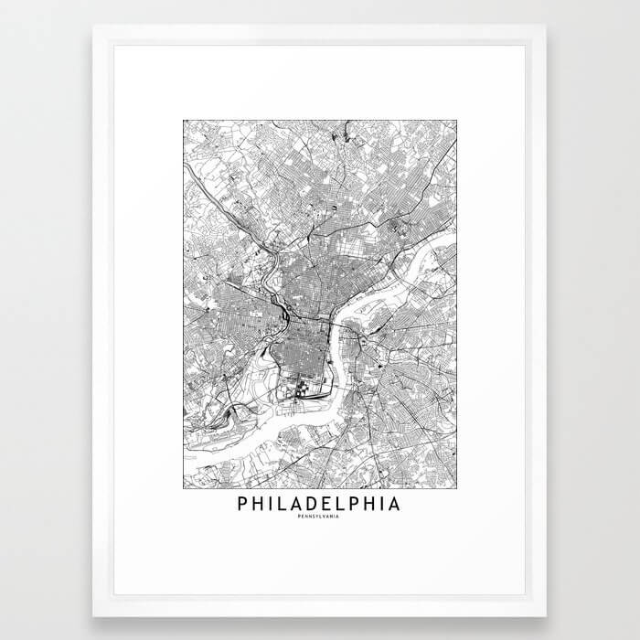 Philadelphia White Map Framed Art Print