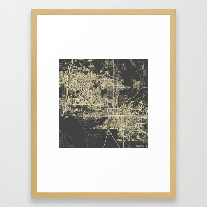 Phoenix map Framed Art Print