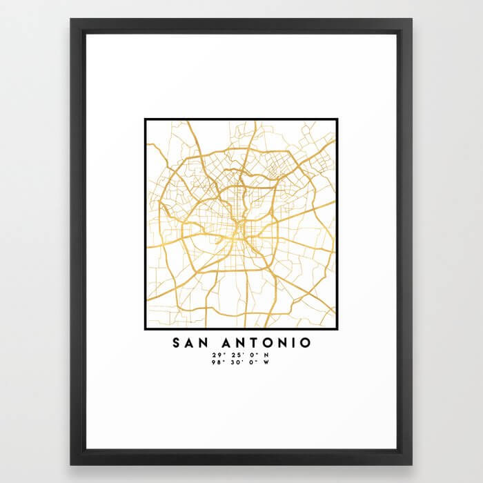 SAN ANTONIO TEXAS CITY STREET MAP ART Framed Art Print