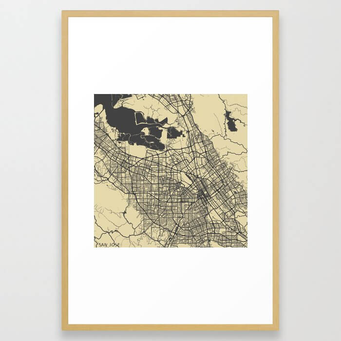San Jose map Framed Art Print