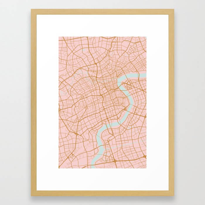 Shanghai map, China Framed Art Print