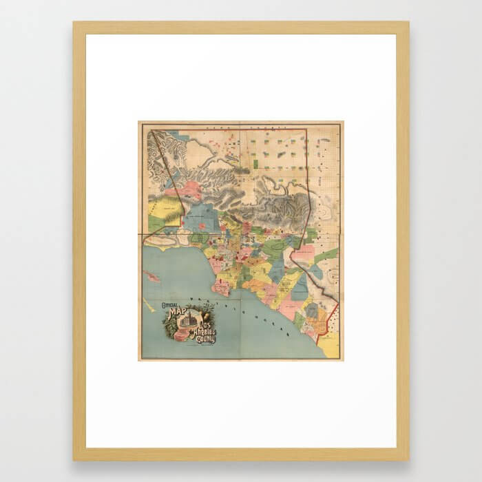 Vintage Map of Los Angeles County CA (1888) Framed Art Print