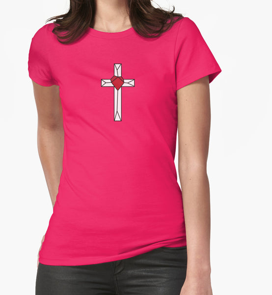 Pink Geometric Cross and Geometric Heart shirt design