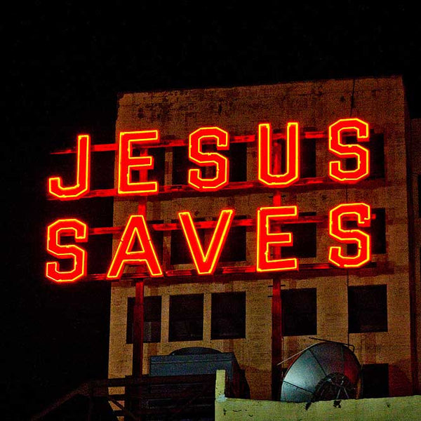 Jesus Neon Lettering on Building image