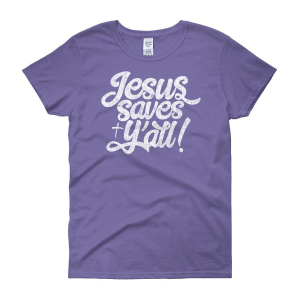 Jesus Saves Ya all Womans Christian Tee in violet color