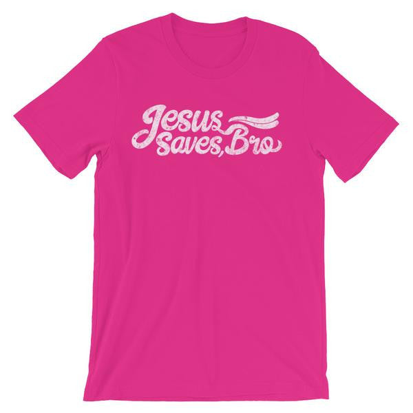 Jesus Saves Bro Cursive tee shirt design in berry pink color