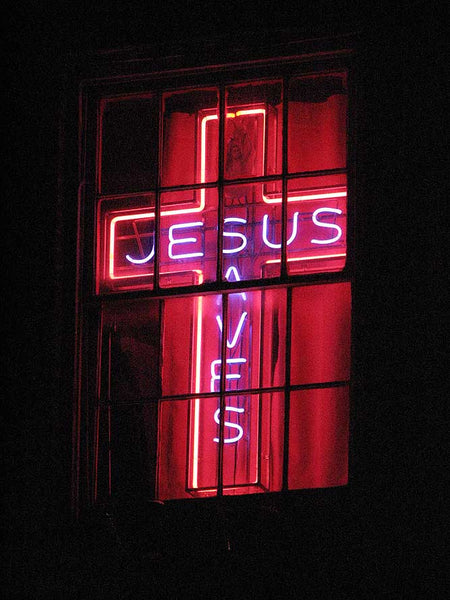 Neon Sign showing that Jesus Saves image
