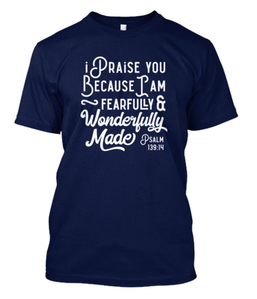 Psalm 139 Christian Tshirt Designs in four colors