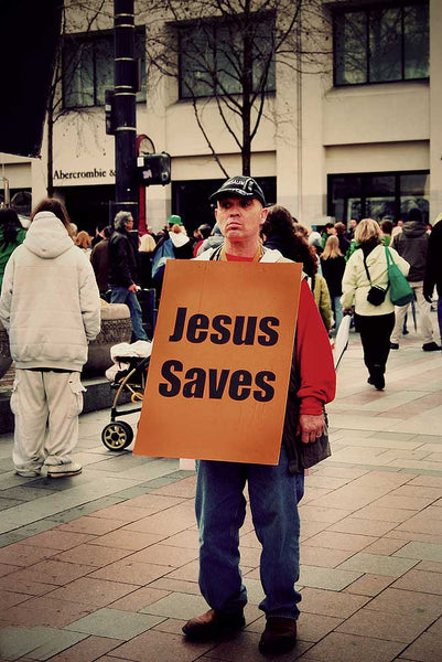 Man Wearing Evangelising Sign image