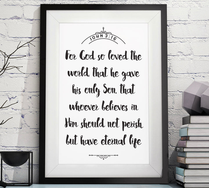 John 3:16 Christian Scripture Art
