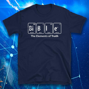 Navy Blue Bible Periodic Table of Elements Funny Christian Tshirt