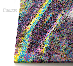 Psychedelic Art of NYC Manhattan canvas