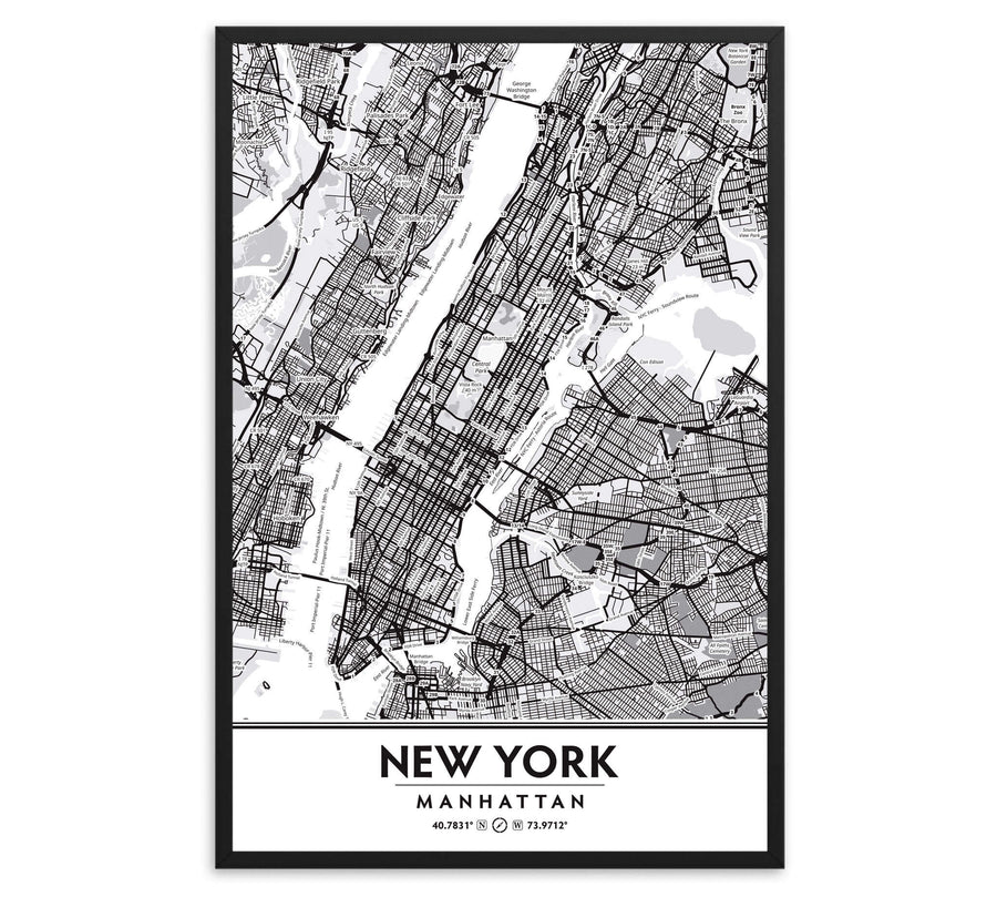 Manhattan New York City NYC Black & White Framed Artwork