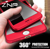 Luxury ZNP™ 360 Full Cover Protect Case + Tempered Glass for iPhone 6/6s,7,7+,8,8+