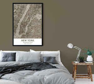 Putty and Beige Manhattan NYC Framed artwork