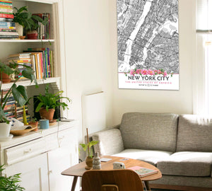 New York City Map with Peony Flowers - Printable