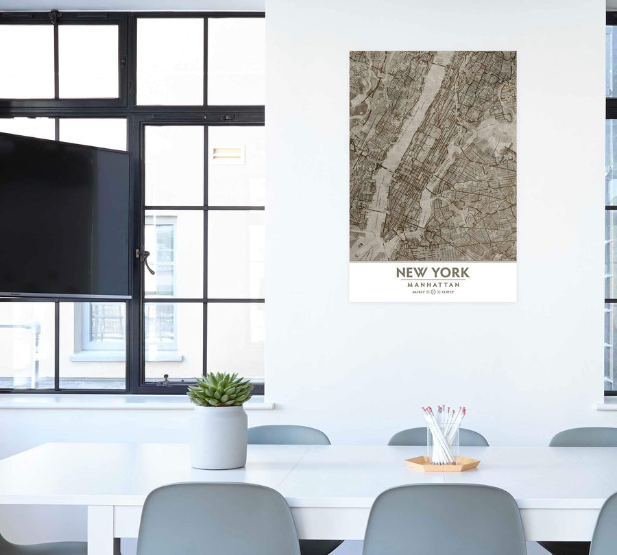 Putty and Beige Manhattan art on office wall