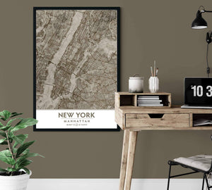 Putty and Beige Manhattan NYC Framed artwork near desk