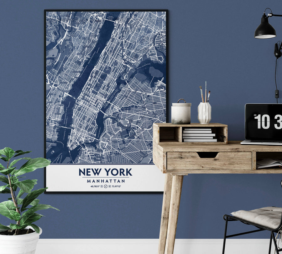 Classic Blue Textured Manhattan NYC Map
