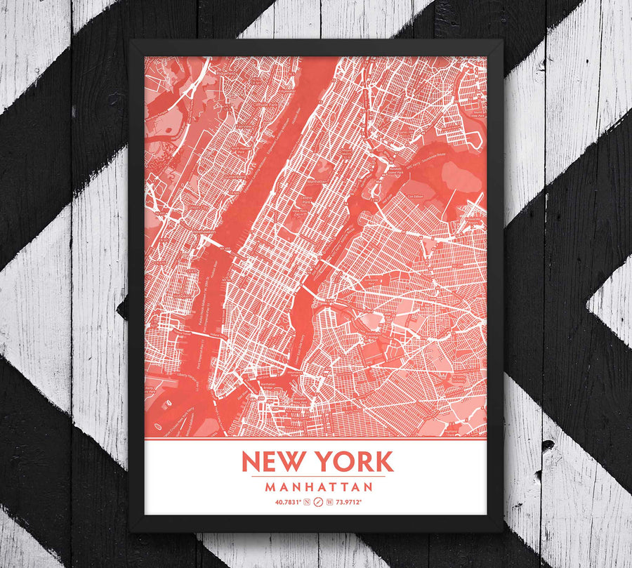 Coral Blush New York City Map - Printable