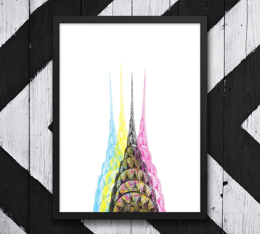 Chrysler Building New York City in CMYK Styling on wall