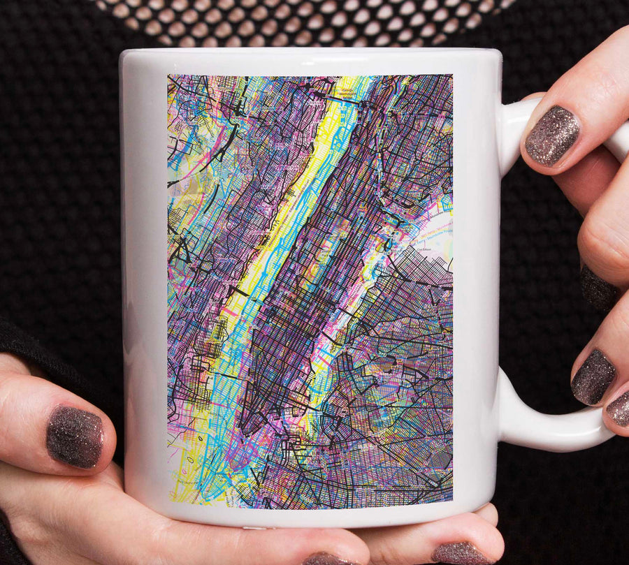 Psychedelic Art of NYC Manhattan mug