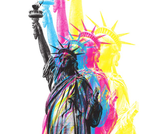 CMYK Artwork of Lady Statue of Liberty close up