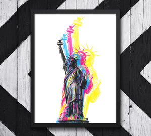 CMYK Artwork of Lady Statue of Liberty in Manhattan image