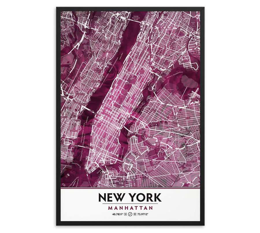 Black Rose Print Poster Showing Manhattan New York City