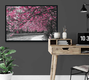 Cherry Blossom and Grey Trees Framed Photo Art on office wall