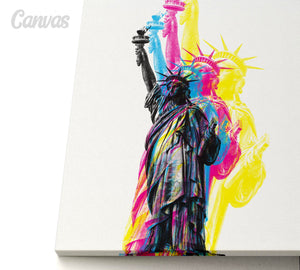 CMYK Artwork of Lady Statue of Liberty canvas artwork