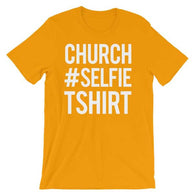 Church Selfie Christian Tee Shirt in Gold Variety
