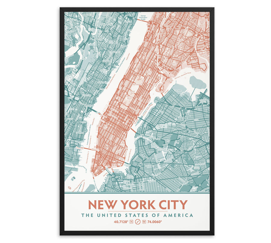 New York City Neighborhood Map, Teal & Coral Aesthetic Decor, Mint Turquoise Bedroom decor image